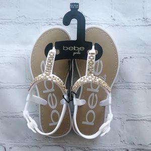 [Bebe] NEW! Girls white and gold sandal 11/12